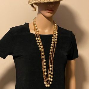 Chanel pearl 3 layer vintage long necklace
